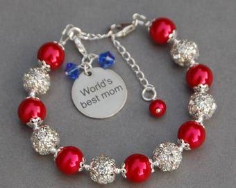 World's Best Mom, Birthstone Mom Gift, Mom Bracelet, Mom Present, Mom Birthday Gift, Mom Jewelry, Best Mom Ever, Greatest Mom