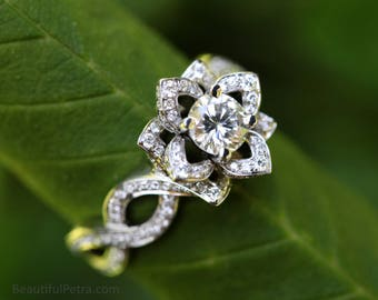 LOVE IN BLOOM - Platinum - Flower Lotus Rose Diamond Engagement or Right Hand Ring - Semi mount Setting only -  -fL03