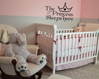 The Princess Sleep Here Wall Decal Sticker For Girl's Room Wall Decals Home Decor Wall Art Quote Bedroom Decor
