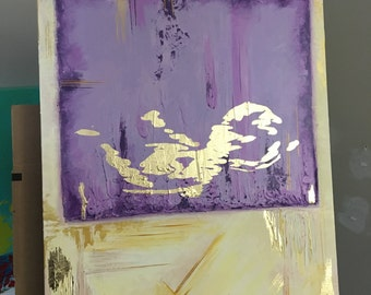 """SOLD Gold leaf Ultrasound painting Ivory Purple Lilac acrylic 18""""x24"""" Wall Art SOLD"""