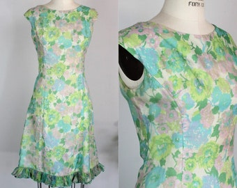Vintage 1960s Floral Print Dress / Ruffle Hem Watercolor Floral Print Dress / Pink Green Blue Sleeveless