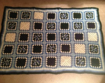 Crocheted Afghan - Blues and Hunter