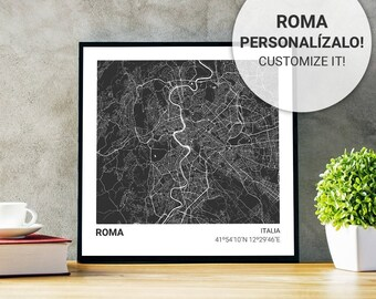Map of Rome (Italy) 23 x 23 black poster. Custom text. Ideal plate for decoration or as a gift.