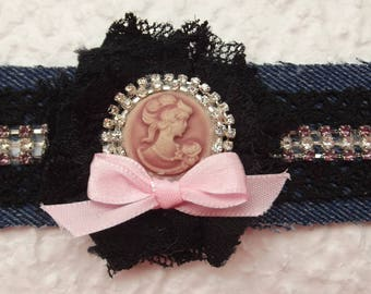 Denim, Black Lace and rhinestone bracelet