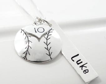 Hand Stamped Baseball Softball Necklace with Player's Name and Number