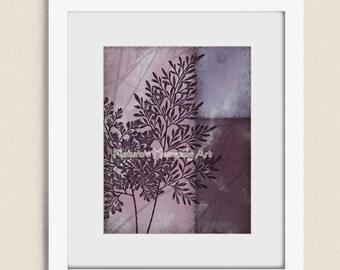 11 x 14 Botanical Wall Art, Fern Art Print, Mauve Wall Art, Burgundy Wall Decor, Purple Art for Home Decor, Nature Art (317)