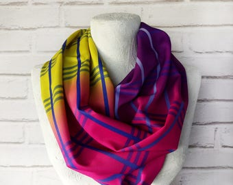 fast shipping/Pink-purpleyellow-designers modern infinity scarf/polyester-scuba fabric shawl/Gift for Her/Spring,Summer Accessories