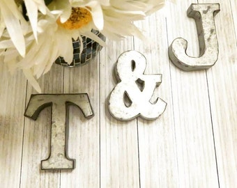 "Alphabet Letters, Farmhouse Decor, Metal Letters, 4"" Small Metal Letters, Wall Letters, Letters For Wall, Nursery Decor Rustic Metal Letters"