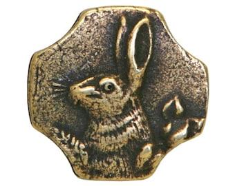 Rabbit 5/8 inch ( 16 mm ) Susan Clarke Metal Button Antique Brass