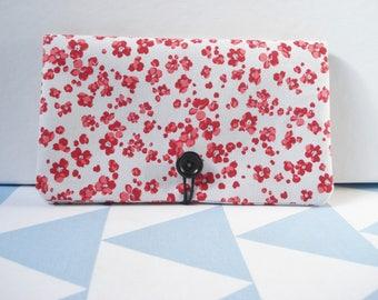 Checkbook - red poppies - Japanese inspired