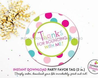 Jump and Play Bounce Party (Girls) - Printable 3 inch Birthday Party Favor Tags - Instant Download PDF File