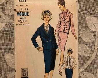 Vogue Special Design Vintage 1960s Ladies Suit and Blouse Pattern #6131