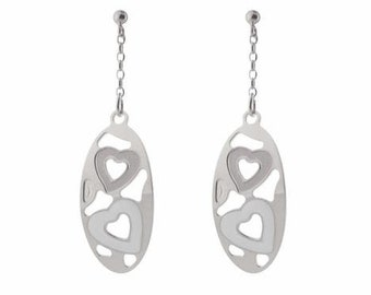 Sterling Silver Earrings Rose Vermeil and White
