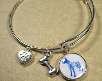 Great Dane Bracelet, Great Dane Bangle, Great Dane Jewelry, Great Dane Gifts, Great Dane Mom Gifts, Great Dane Expand It Bracelet
