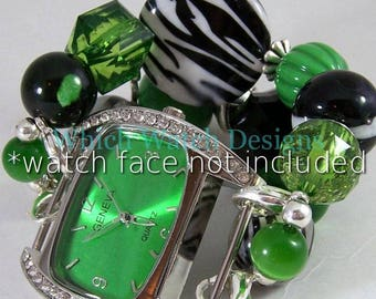 Green Zebra.. Chunky Kelly Green, Black and White Interchangeable Beaded Watch Band, Stretchy