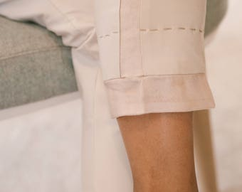 Pants in cotton and silk-
