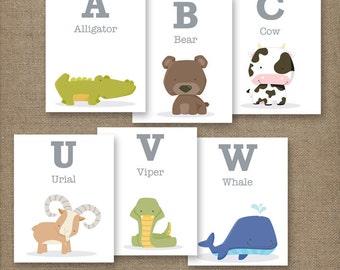 Alphabet Animal Flash Cards. PRINTABLE 4x5in