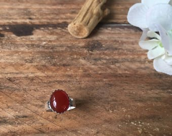 Hammered Red Carnelian Ring