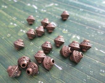set of 10 beads bicones 6 x 6 mm antique bronze