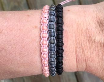 Micro-Macrame Adjustable Bracelet Stack - Light Pink, Gray, Black