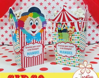 Circus popcorn, clown and circus tent boxes to print, pdf