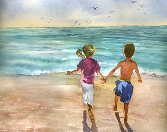Children Playing on the Beach,  watercolor painting print LARGE GICLEE
