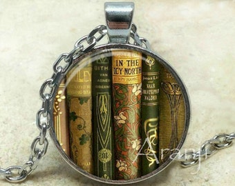 Book pendant, book necklace, book jewelry, bookshelf necklace, bookshelf pendant, gift for bookworm Pendant#HG241P
