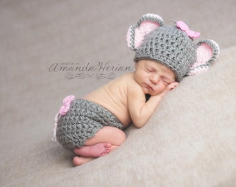 Crochet Chunky Little Miss Elephant Beanie and Diaper Cover/Photography Prop/ Elephant Costume/ Made to Order