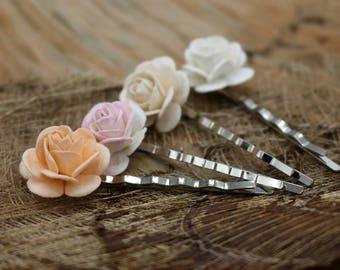 Peach Pink Flower Hair Pins , Mulberry paper Flower Hair Pins, Bobby Pins ,Floral Hair Pins Set Bridesmaids(FL308)