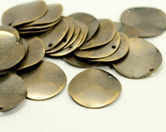 100 Pcs.  Antique  Brass 20 mm Round 1 Hole Curved Stamping Blanks