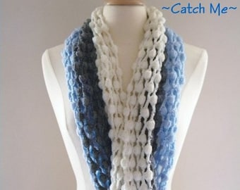 PDF Pattern Crochet Scarf Infinity Blue Gray and White Original Design