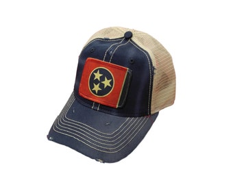 Tennessee Flag Distressed Trucker Cap
