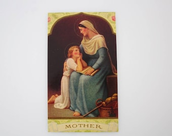 Mother Holy Card - Blessed Virgin Mary Holy Mother of God - Religious Ephemera for Bible Scrapbooking Craft Supply  HC17