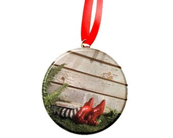 """Wizard of Oz House on Wicked Witch 2.25"""" Ornament"""