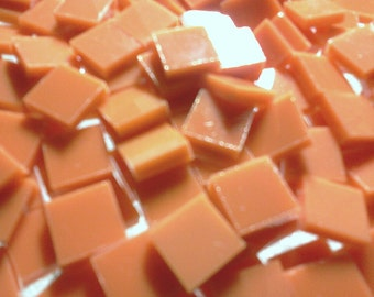 PUMPKIN ORANGE / CREAMSICLE Fusible 90COE Stained Glass Tile C3