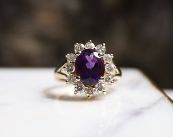 Vintage Gold Diamond and Amethyst ring