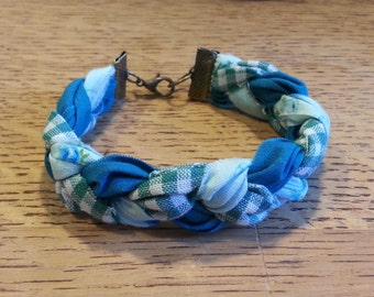 Braided Fabric Bracelet - Shades of Teal - 3/4 inch width - Gingham/Checkered/Floral/Solid Dark Teal