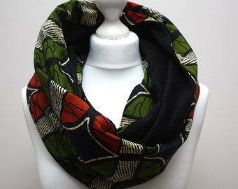African snood scarf, Wax print scarf, Colourful Ankara Scarf, Afrocentric scarf, Butterfly print, African print scarf, Urbanknit scarf