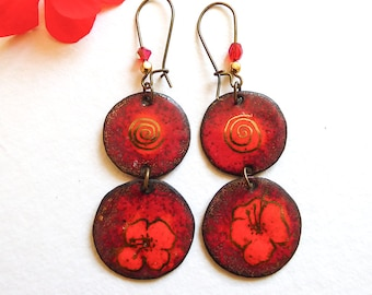Earrings red circles, craftmade, trendy enamel, The season of gerania