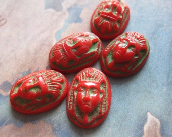 4 PC Vintage Czech  Red Glass Egyptian Revival Pharaoh Cameo / 16 x 11 - X020