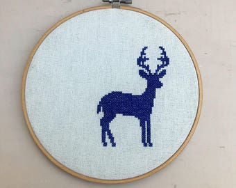 Handmade Cross Stitched Royal Blue Deer Silhouette Hoop Picture