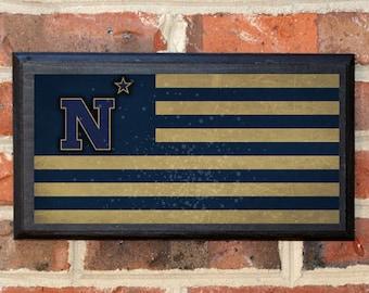 US Navy Flag Midshipmen N Star Logo Wall Art Sign Plaque Gift Present Home Decor Vintage Style USNA Sailor Naval Academy Football Classic