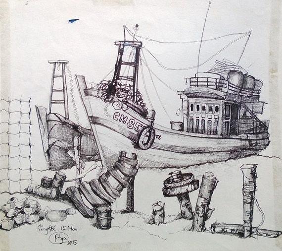 "DRY DOCK 11x10.5"" Ink on Paper, Mekong Delta (Sông Đốc, Cà Mau Province) Original by Nguyen Ly Phuong Ngoc"
