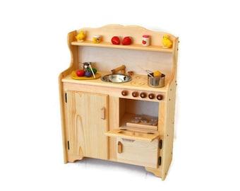 Waldorf child's Kitchen-Wooden Play Kitchen -Wooden Toy kitchen - Montessori Wooden Kitchen - Wooden toys- Play Food- Pretend Play-