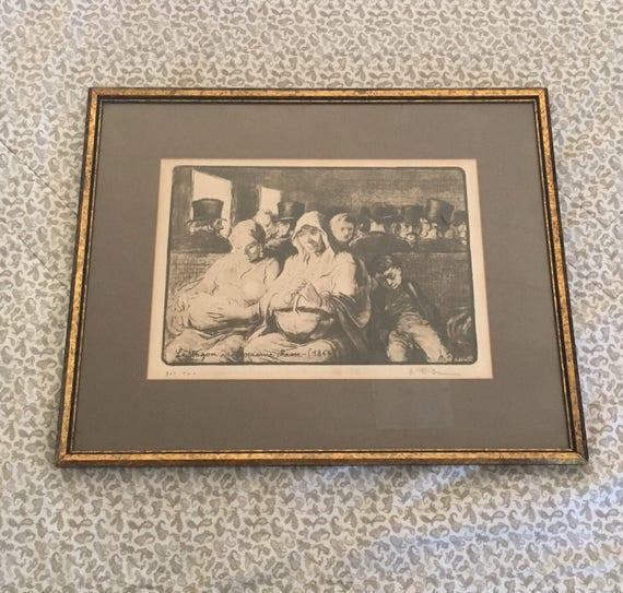 Daumier Limited Edition Signed Lithograph on Rag Paper - Le Wagon De Trosieme Classe - 1864 - Litho ca. 1870 - Professional Frame