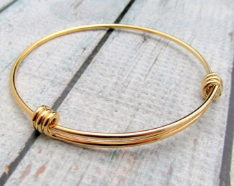 Gold Bracelet - Expandable Bracelet - Gold Plated Stainless Steel Bracelet Blank Expandable Wire Bracelet - Expandable Bangle Bracelet (119)