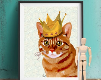Ginger Cat with Crown  Ginger cat print, ginger cat illustration, ginger cat decor, ginger cat poster, ginger cat picture, cat painting