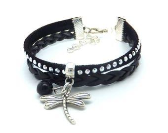 Black Dragonfly Cuff Bracelet, rhinestone and silver.