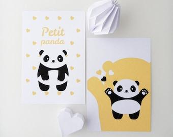 """Set of four illustrations for children """"panda"""""""