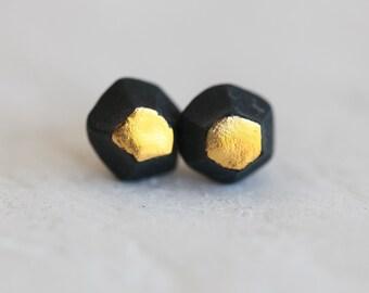 Yaqui , porcelain and gold earrings, glazed .Porcelain jewelry